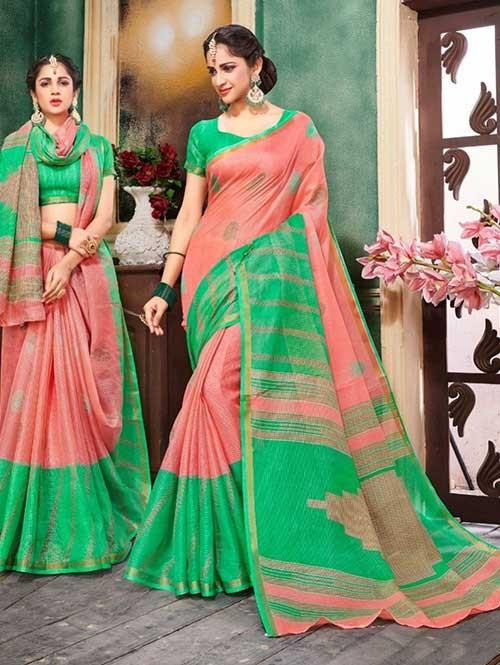 Peach Colored Zari Chex Cotton Silk Saree - Vinamrta