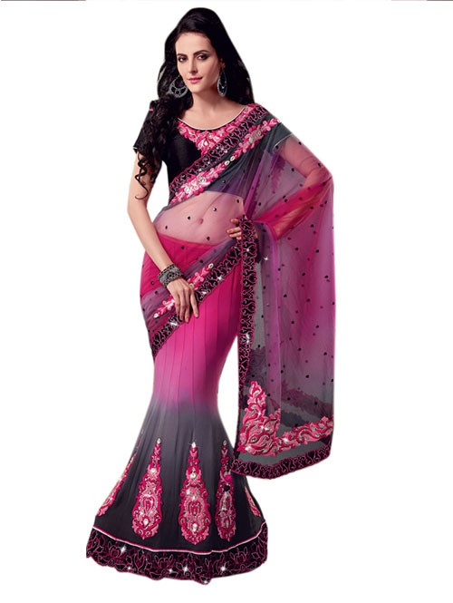 Pink and Black Colored Beautiful Embroidered Net Lehenga Saree