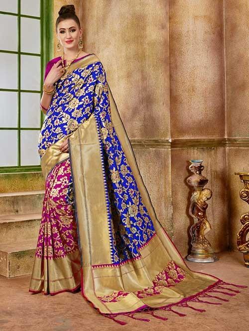 Pink and Blue colored Beautiful Banarasi Silk Saree