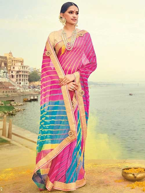 Pink and Blue Colored Beautiful Embroidered Georgette Leheriyaa Pattern Printed Saree