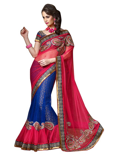Pink and Blue Colored Beautiful Embroidered Net Lehenga Saree With Stone Work