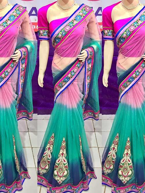 Pink and Blue Colored Beautiful Embroidered Net Saree