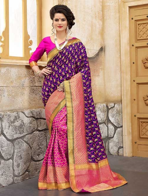 Pink and Blue Colored Beautiful Soft Banarasi Silk Fancy Saree Online