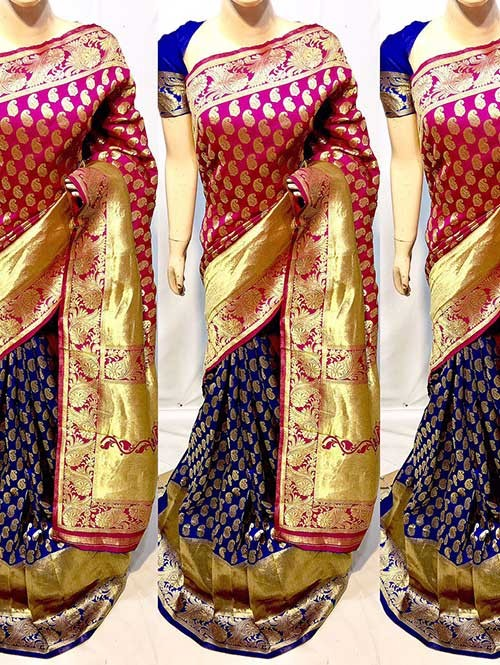 Pink and Blue Colored New Arrival Banarasi Silk Saree