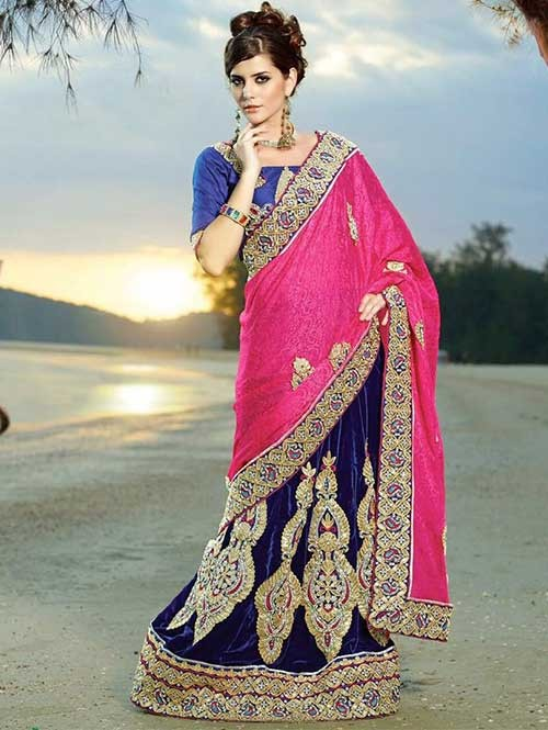 Pink and Blue coloured Pure Micro Velvet Patli With Jacquard Silk Pallu Lehenga Saree With Beautiful Embroidery Stone Work