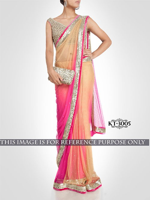 Pink and Cream Colored Beautiful Spry Pedding Nylon Net Saree
