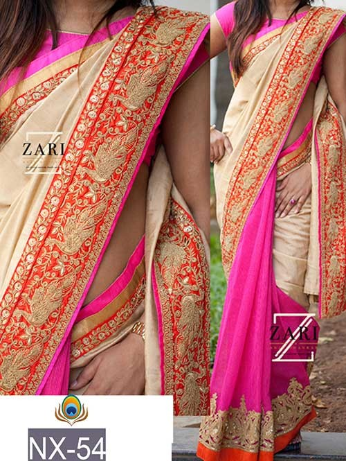 Pink And Off White Colored Beautiful Embroidered Border Joya Silk And Georgette Saree.
