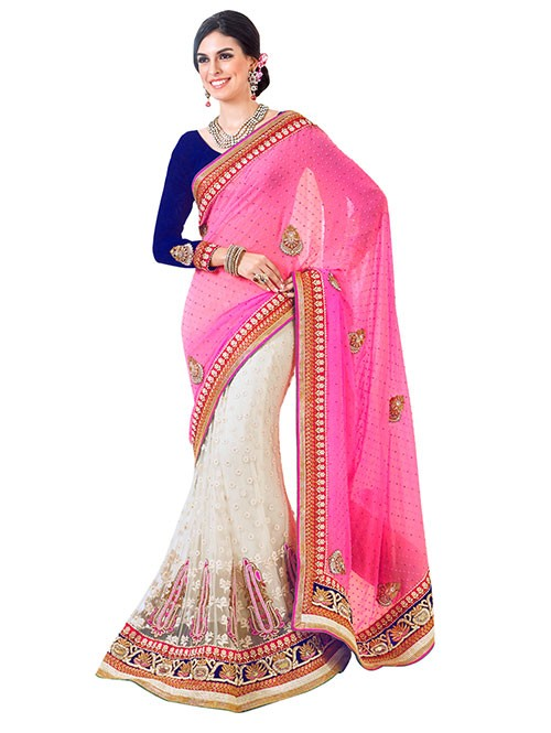 Pink and Off White Colored Beautiful Embroidered Pure Georgette Pallu With Net Patli Heavy Saree