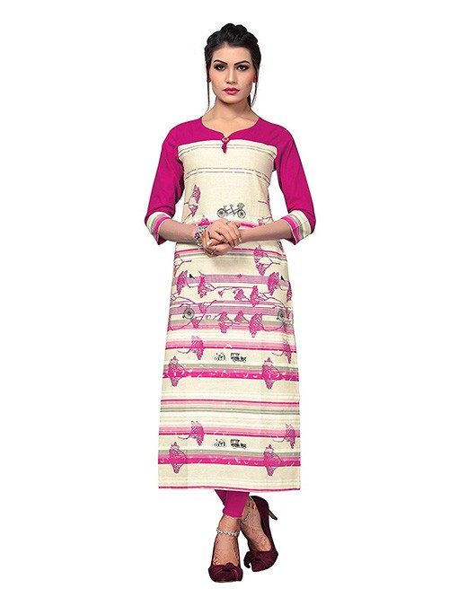 Pink and Off White Colored Beautiful Printed Straight Cotton Kurti