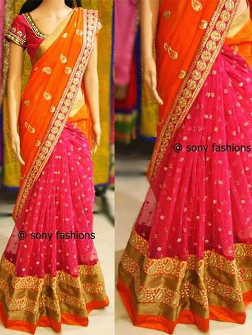 Pink and Orange Colored Beautiful 60gm Georgette Saree