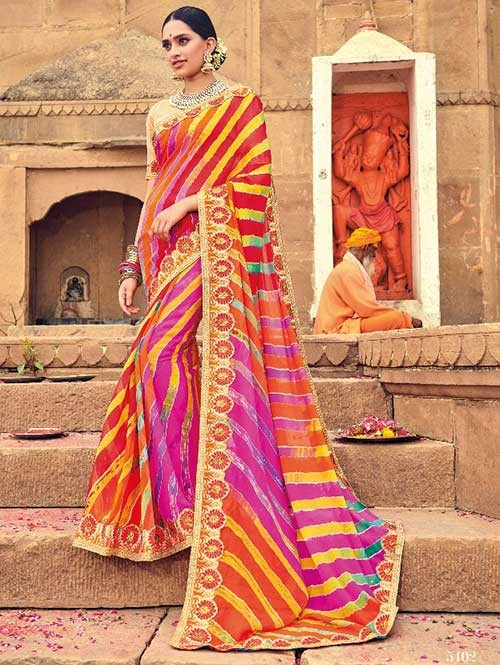 Pink and Orange Colored Beautiful Embroidered Georgette Leheriyaa Pattern Printed Saree