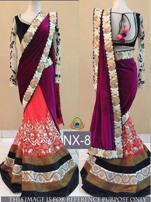 Pink and Peach Colored Gorgeous Velvet And Net Saree With Beautiful Blouse