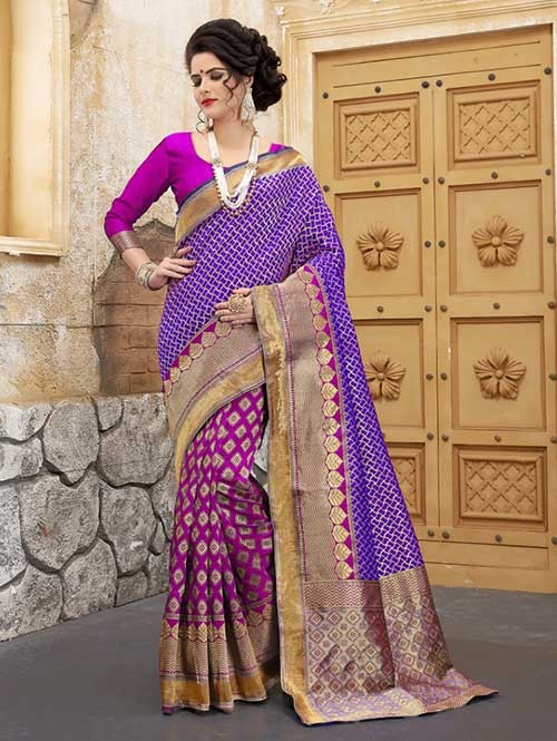 Pink and Purple Colored Beautiful Soft Banarasi Silk Fancy Saree Online