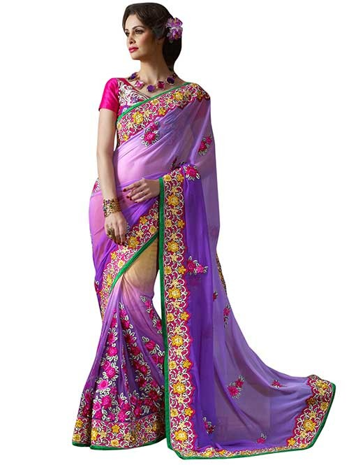 Pink and Purple Colored Georgette and Net embroidery Designer Saree
