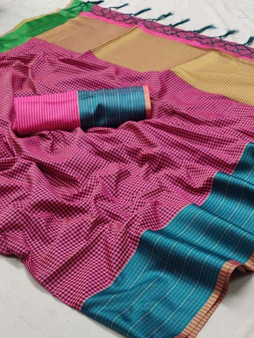 Pink Color Beautiful Chex Printed Banarasi Silk Saree - Aakriti
