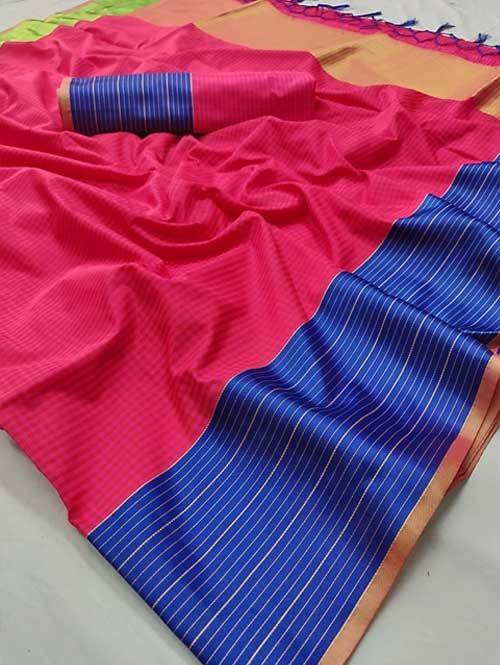 Pink Color Beautiful Chex Printed Banarasi Silk Saree - Aakriti