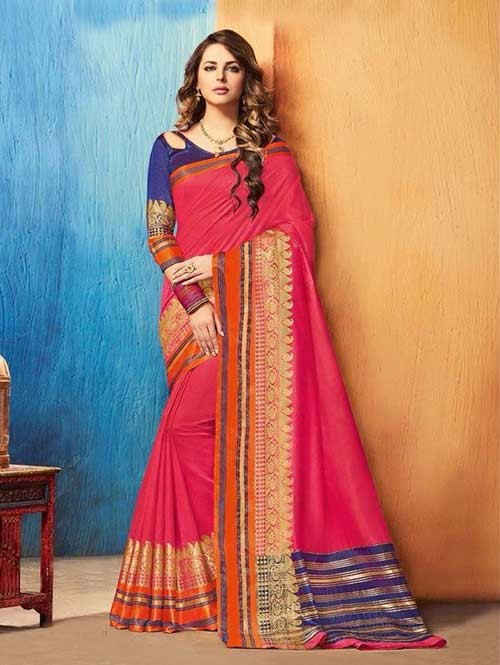 Pink Color Beautiful Cotton Silk Saree