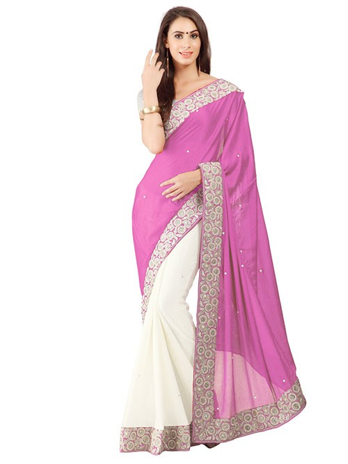 Pink Color Beautiful Embroidered Border Pure Crepe Silk Saree