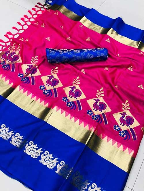 Pink Color Beautiful Embroidered Cotton Silk Saree Have beautiful Weaving Border