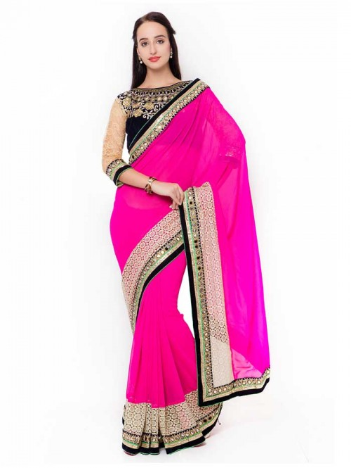 Pink Color Beautiful Georgette Saree with velvet embroidered Blouse