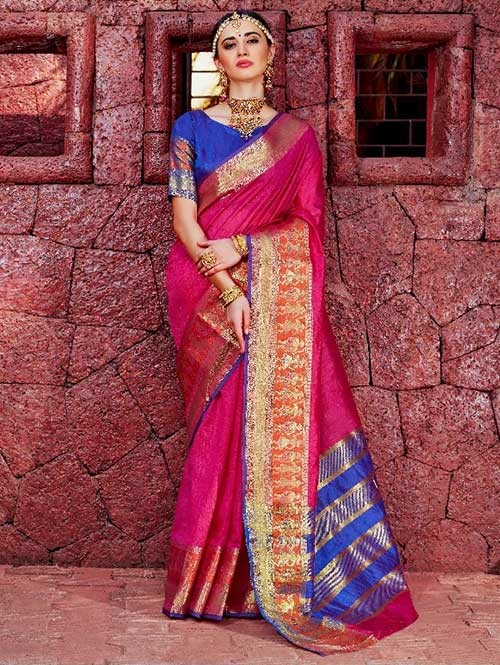 Pink Color Beautiful Handloom Waving Silk Saree