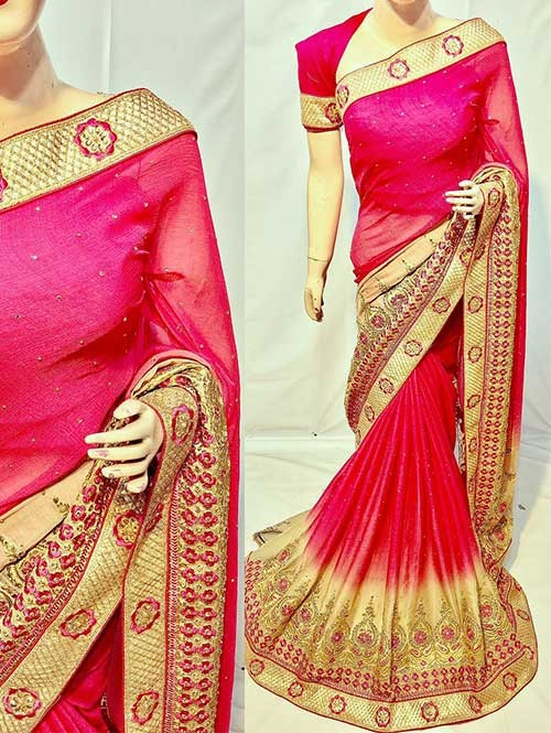 Pink Color Beautiful Soft Chiffon Fabric Saree With Two Tone Effect Also Have Embroidery and Stone Work
