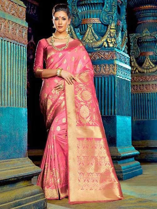 Pink Color Beautiful Waving Silk Saree