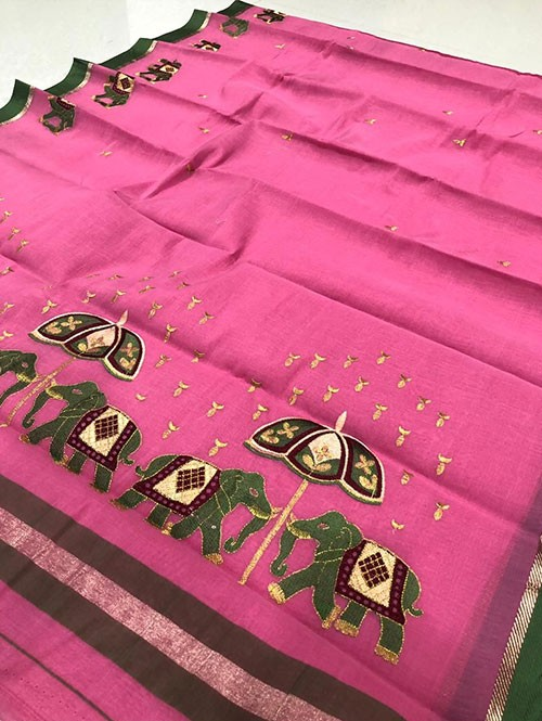 Pink Color Beautiful Weaving Cotton Saree - Twinsland