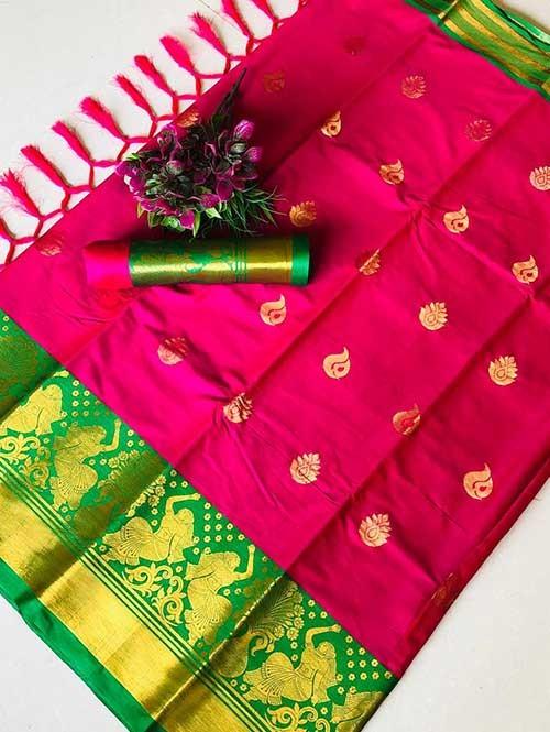 Pink Color Beautiful Weaving Cotton Silk Saree - Anmol