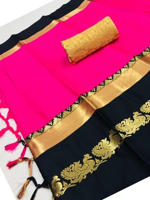 Pink Color Beautiful Weaving Cotton Silk Saree