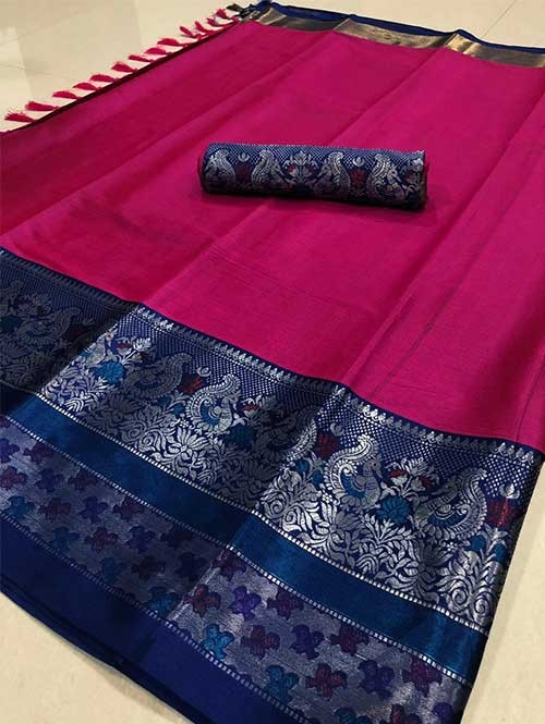 Pink Color Beautiful Weaving Cotton Silk Saree - Kalakruti