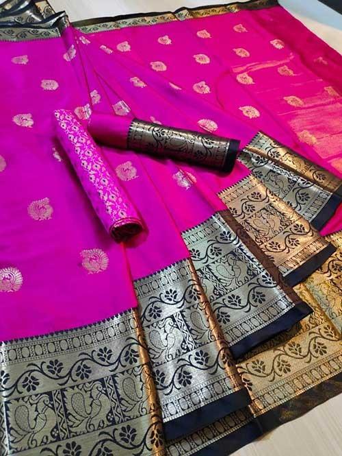 Pink Color Beautiful Weaving Cotton Silk Saree - Mahiya & Ashra