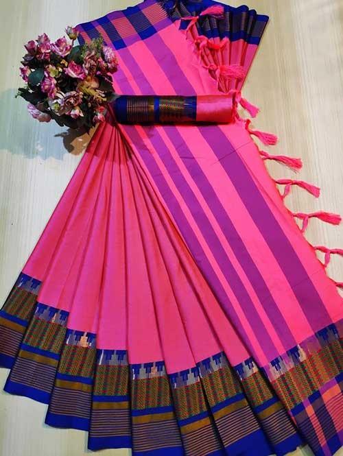 Pink Color Beautiful Weaving Cotton Silk Saree - Meena