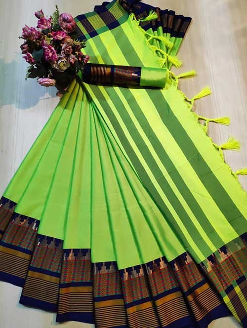 Green Color Beautiful Weaving Cotton Silk Saree - Meena