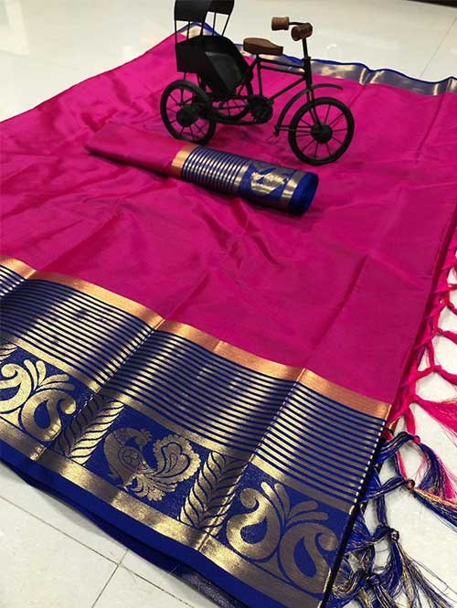 Pink Color Beautiful Weaving Cotton Silk Saree - Rupa