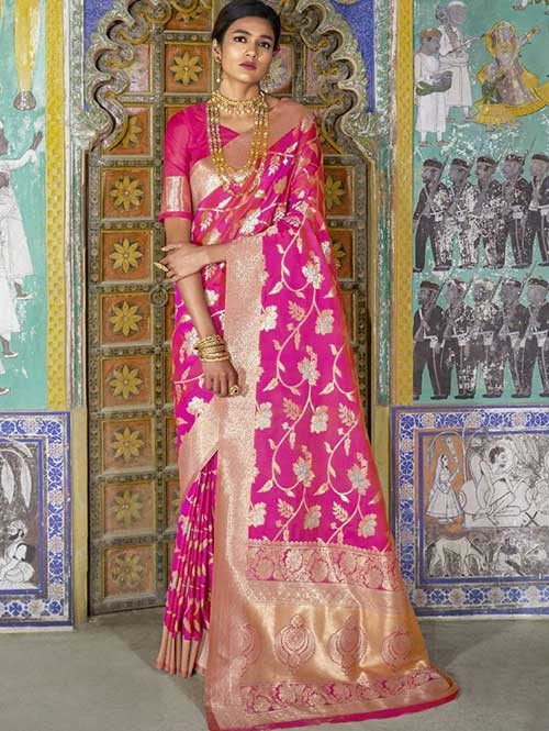 Pink Color Beautiful Weaving Silk Saree - Kailashi