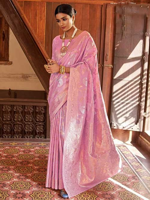 Pink Color Beautiful Weaving Silk Saree - Kanshula