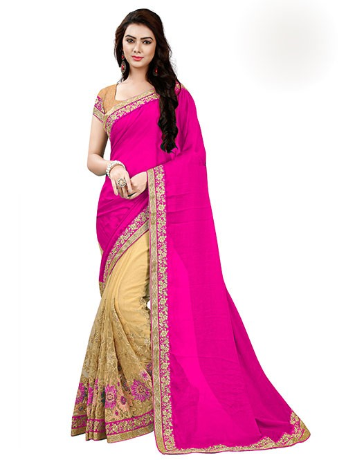 Pink Color Beautiful Chiffon and Net saree with Blouse