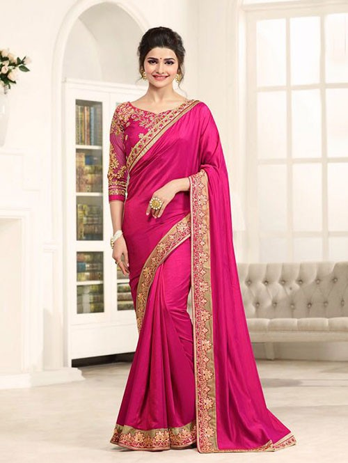 Pink Color Georgeous Satin Silk Saree with Blouse