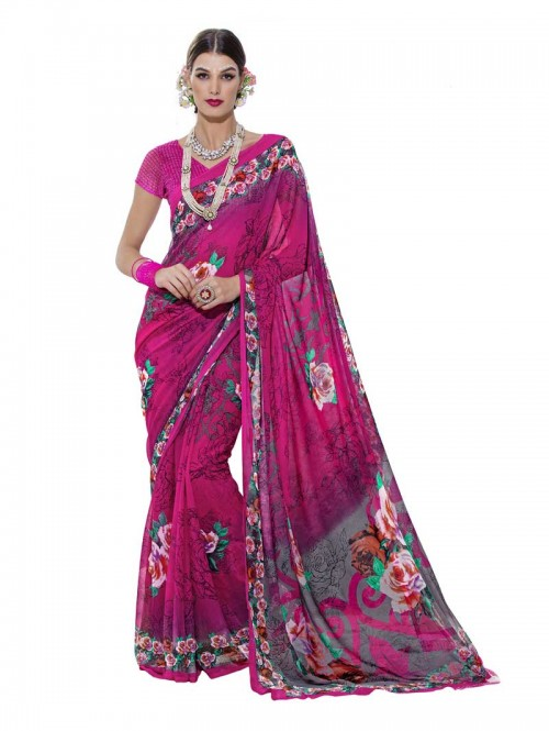 Pink Color floral Printed Beautiful weightless saree with Blouse
