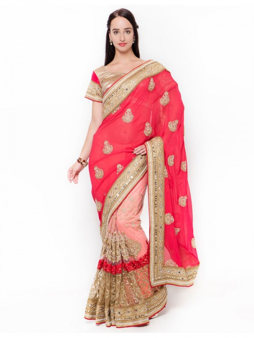 Pink Color Georgette and net embroidered half and half Saree with silk Blouse