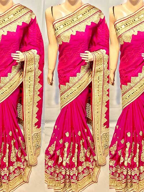 Pink Color Heavy Embroidered gorgeous Silk saree for Traditional Wear