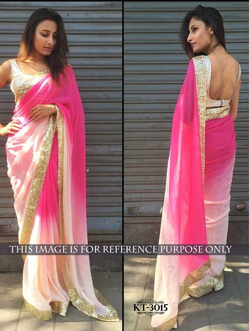 Pink Colored 60gm Georgette Saree