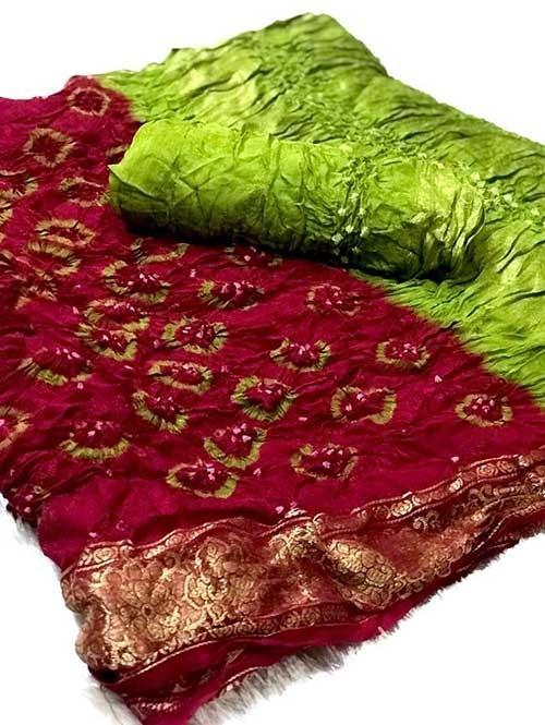 Pink Colored Amazing Saree has Bandhani Handprint With Weaving Border - wedding sarees