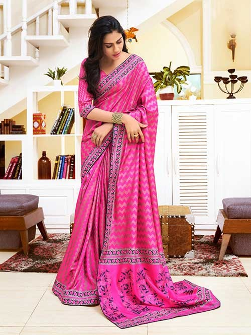 Pink Colored Bandhani Printed Dola Silk Saree - Yaana