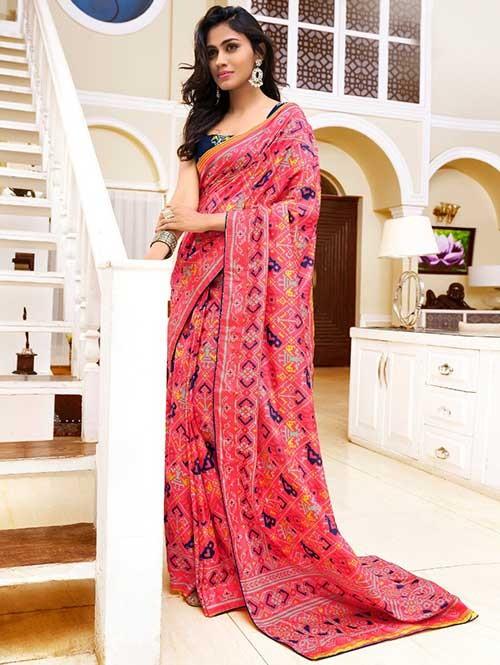 bf822b1c70 Pink Colored Bandhani Printed Dola Silk Saree | grabandpack