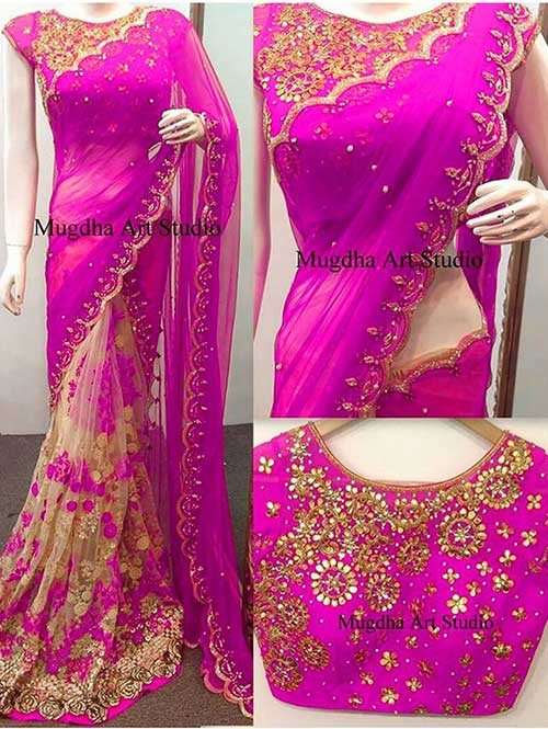 Pink Colored Beautiful 60gm Georgette and Nylone Net Saree