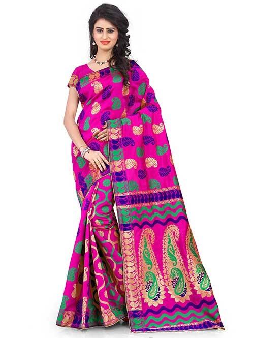 Pink Colored Beautiful Banarasi Silk Saree