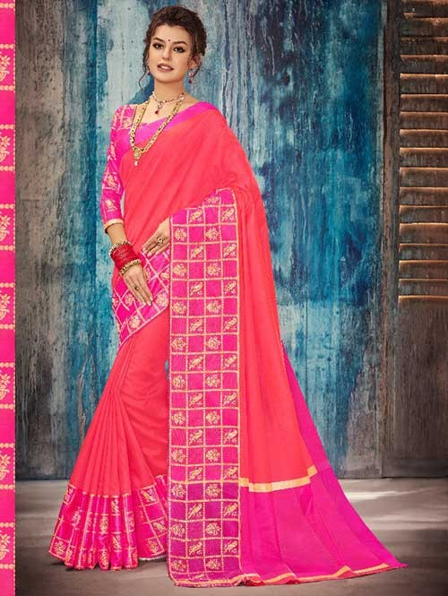 Pink Colored Beautiful Banarasi Silk Saree With Rich Blouse