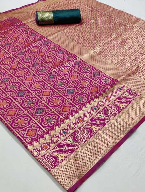 Pink Colored Beautiful Branded Bandhej Weaving Silk Saree - Bandhej